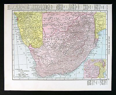 1910 Rand McNally Map - South Africa Rhodesia Natal Cape Town German SW- Antique