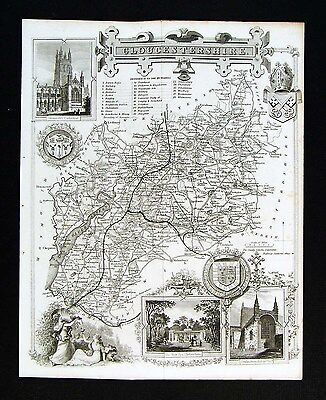 c. 1850 Thomas Moule Map Gloucestershire Gloucester Bristol Stratford England UK