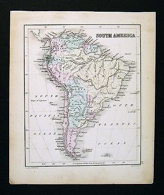 c. 1858 Atlas Map - South America - Brazil Argentina Peru Chile Patagonia Amazon