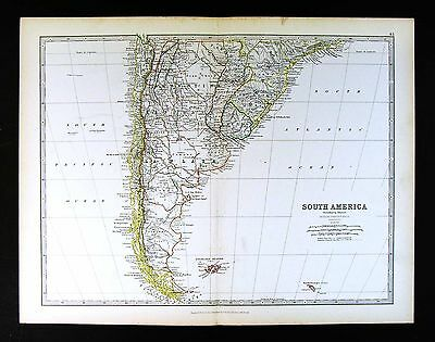 1883 Johnston Map - South America - Argentina Uruguay Chile Patagonia Falklands