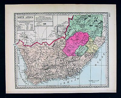 1885 Tunison Map - South Africa - Cape Colony Natal Zululand Transval Capetown