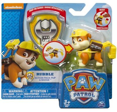 Paw Patrol Rubble Character Kids Children Action Pack Pup Figure Official Badge