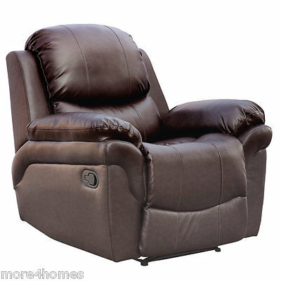 Madison Leather Recliner Armchair Sofa Home Lounge Chair Reclining Gaming