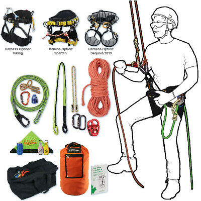 Tree Climbing Rope Kit, Deluxe w/ Spartan Saddle, 150 'Rope, Flipline & More