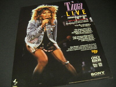 TINA TURNER Live on the Private Dancer Tour PROMO DISPLAY AD mint condition