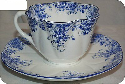 Shelley Porcelain Cup Saucer   Dainty Blue Full Size No Chips