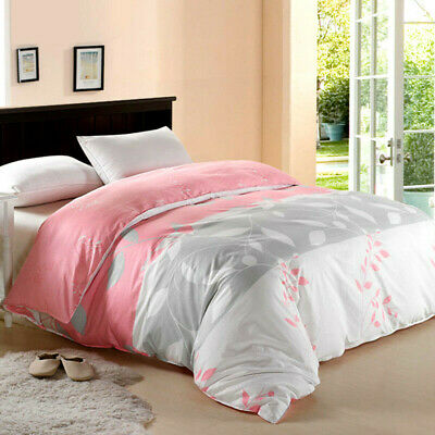 Leaf Floral Doona Duvet Quilt Cover Set Double Queen King Size Bed Linen Cotton
