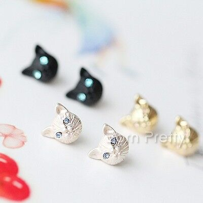 1 Pair Earring Lovely Cat Design Fashion Ear Studs Jewelry Earrings 3 Colors
