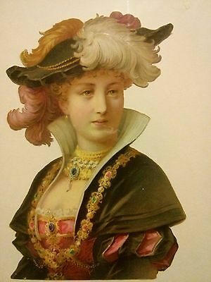 """#Original 1800's Victorian Lady w/Feathered Hat Die Cut Paper 5 x 7.5"""""""