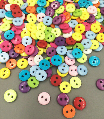 200Pcs mini Random Mixed Acrylic Sewing Buttons Scrapbooking 8.5x2mm