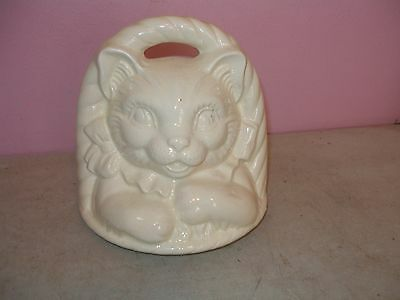 VINTAGE KITTEN CAT IN THE BASKET TOP HEAD LID ONLY  MADE BY MCCOY