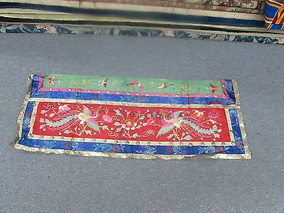 Antique Chinese Gold Thread Embroidered Panel Banner Embroidery Tapestry Phoenix