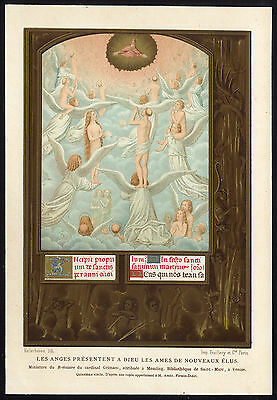 Antique Print-MINIATURE-ANGELS-GOD-MIDDLE AGES-Lacroix-1868
