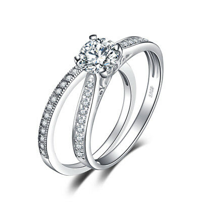 JewelryPalace 1ct CZ Wedding Bridal Ring Set 925 Sterling Silver Fashion Gift