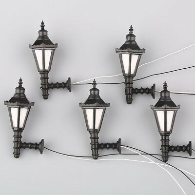 5pcs Model Railway Led Lamppost Lamps Wall Lgihts G Scale 3V New