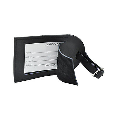 ViVo Real Italian Leather Black Luggage Tag with Address Label & Metal Buckle