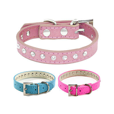 Cat Collar Diamante Kitten Crystal Rhinestone Safety Bling PU Leather Diamond