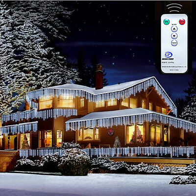 Christmas Xmas Bright LED Snowing Icicle Lights Indoor Outdoor House Tree White