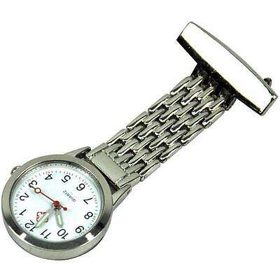High Quality Nurses Stainless Steel Fob Watch Silver Pocket Watch Clip On Shirt