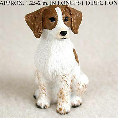 Brittany Mini Resin Hand Painted Dog Figurine Brown/White