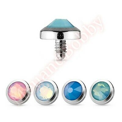 1 x 14G Opalite Gem 316L Surgical Steel Dome Dermal Anchor Top Spare Part
