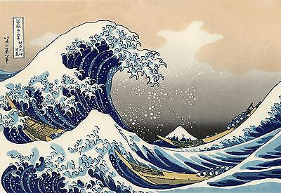 Repro Japanese Print title 'The Great Wave Off Kanagawa'