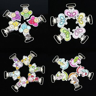 10Pcs Baby Pacifier Clips Craft Wood Cartoon Animal Pattern Mixed Colour
