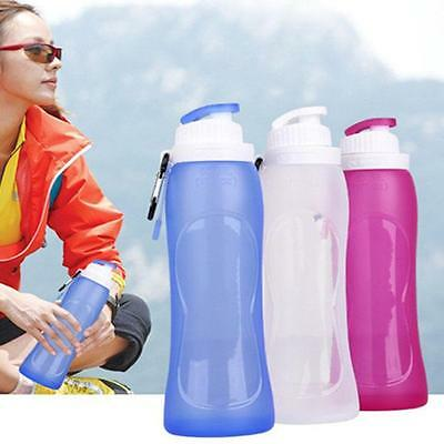 Travel Sports Collapsible Silicone Drink Water Bottle Foldable Kettle Cup 500ML