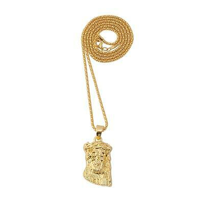 Mens Luxury Gold 18k Gold Plated Hip Hop Necklace Jesus Head Pendant Chain