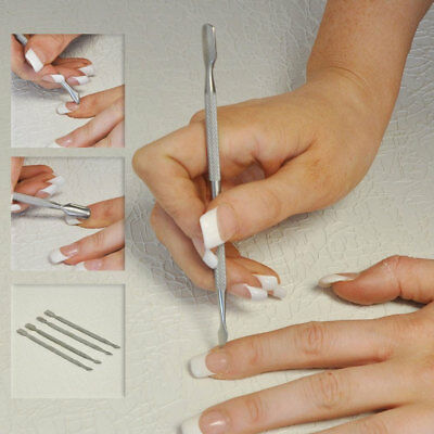 Cuticle Skin Nail Art Pusher Manicure Remover Scraper Dual Kit Stainless Steel