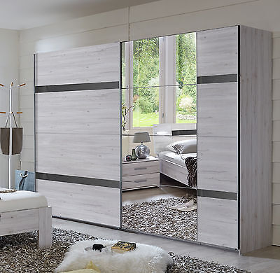 kleiderschrank schrank weisseiche hochglanz grau woody 132 01615 eur 519 00 picclick de. Black Bedroom Furniture Sets. Home Design Ideas