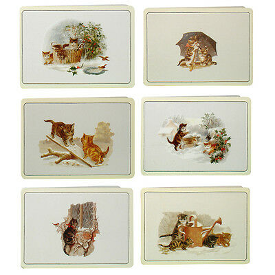 150 Victorian Cats with Green Envelopes Christmas Gift Cards by Courtier XG0024
