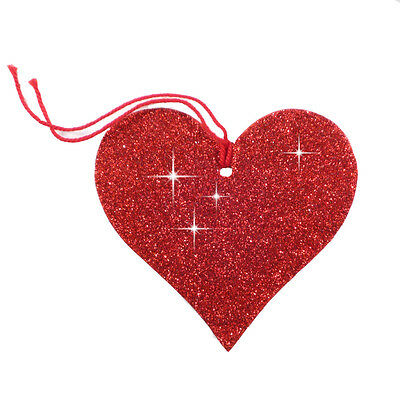 25 Sparkling Glitter Red Heart Shape Gift Tags Strung with Red Cord