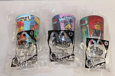 NEW The Lego Movie McDonalds Cups Emmet Wyldstyle President Business 1 2 & 8