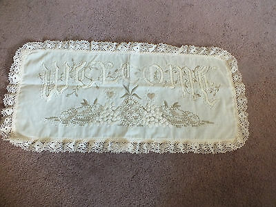 Embroidered Table Runner Doily Off White Lace Trim WELCOME 24 x 11 Inch STUNNING