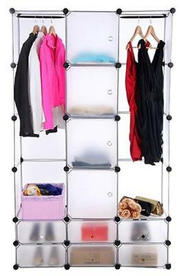 Cube Wardrobe Cupboard Storage Rack Clothes Rail Shoes Doors Toys Double Canvas