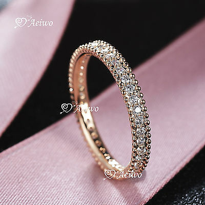 18K Rose White Yellow Gold Gf Crystal Wedding Band Engagement Ring