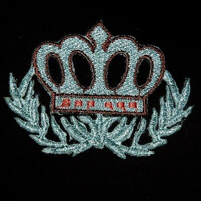 Silver Royal Crown Crest Sew Iron on Patch Embroidered Applique Biker