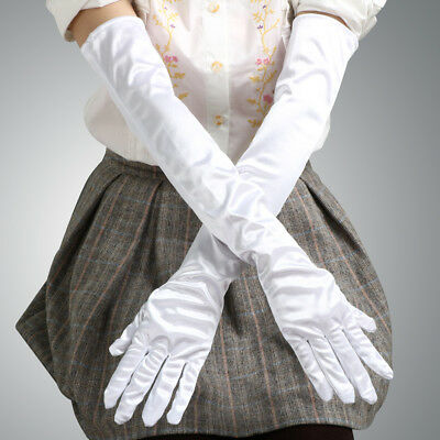 """19"""" Long Satin Gloves Opera Wedding Bridal Evening Party Prom Costume Gloves"""