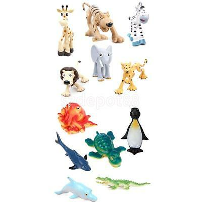 12pcs Mixed Forest Jungle & Marine Sea Zoo Animals Model Toy Teaching Props Gift
