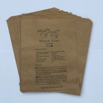 Brown Counter Bag Mince Pies Receipe Small Xmas Christmas x 10 Gift Bags