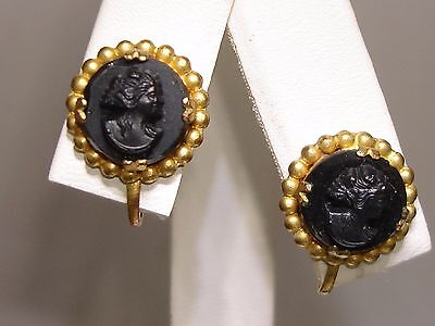 Victorian Gold Washed Black Glass Cameo Earrings! Lovely