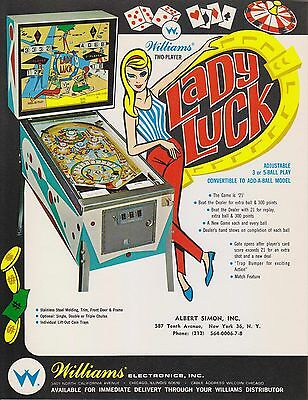 1968 Williams Lady Luck Pinball Flyer