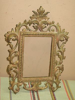 """Antique Ornate Cast Iron Picture Frame 9"""" x 12""""  fits a 4"""" x 6"""" Photo or Mirror"""