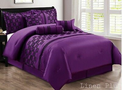 7 Piece Faux Silk Purple Black Flocked Comforter Set Cal King Size NEW
