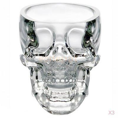 3Pcs 73ml Crystal Skull Head Vodka Whiskey Wine Glass Cup Home Bar Drinking Ware