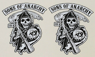 2 black/white Sons of Anarchy SAMCRO 1% Biker oldschool Aufkleber Chopper USA