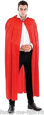 Mens Long Red Hooded Velour Vampire Halloween Cape Cloak Fancy Dress Costume