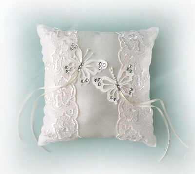 WEDDING LACE RING CUSHION BUTTERFLIES / DOVES 20 X 20cm
