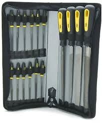 "16 Piece File Set In Case + Handled For Metal Plastic Wood 8"" + Warding Sizes"
